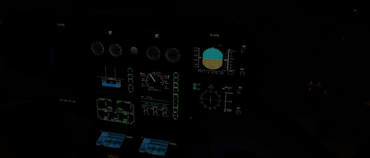 Cockpit der EC 135 V4 bei Nacht