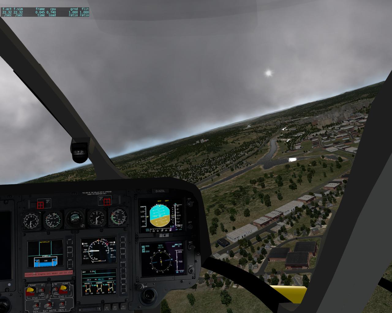 Blick aus dem Cockpit bei aufziehendem Gewitter